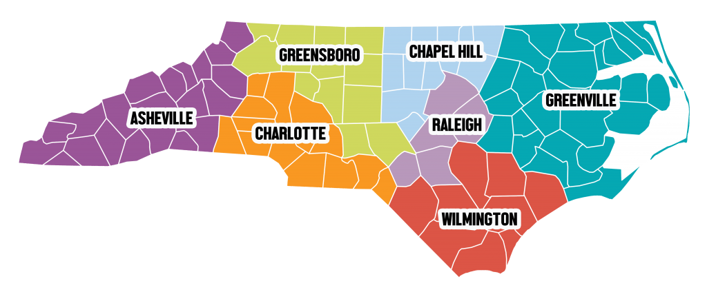 NC map Regional TEACCH Centers