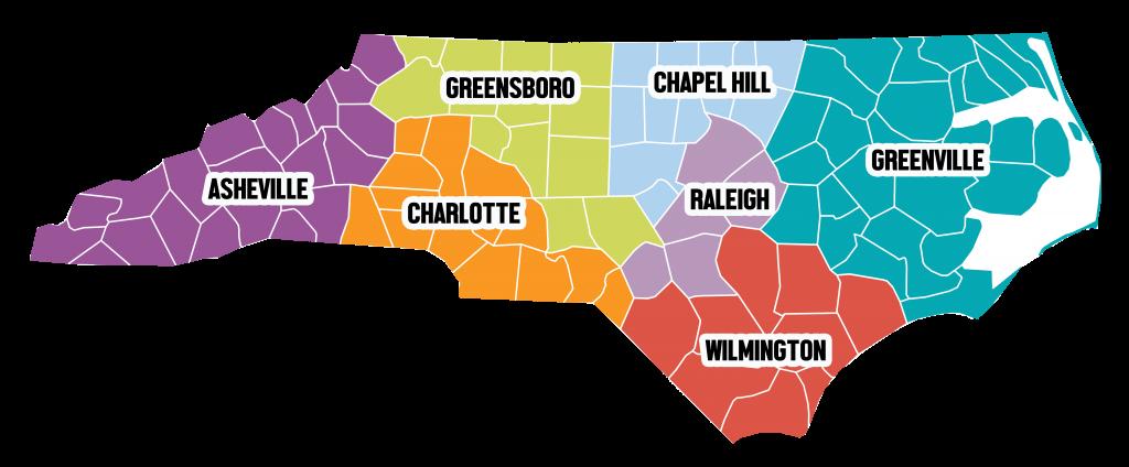 NC map Regional TEACCH Centers