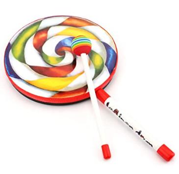 Foraineam 2 Pieces Kids Percussion Instrument, Lollipop Hand Drum