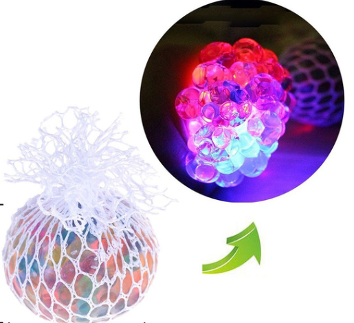 Mesh Ball LED Light Up Squeeze Grape toy